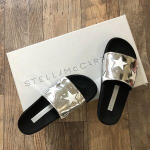 NIB Stella McCartney sliver star slippers